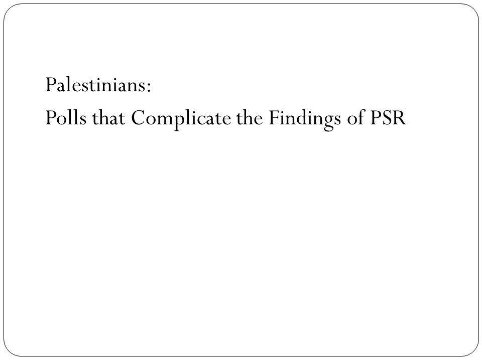 Palestinians: Polls that Complicate the Findings of PSR