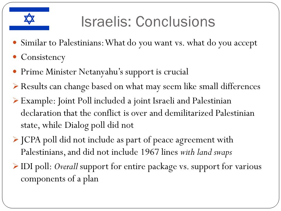 Israelis: Conclusions Similar to Palestinians: What do you want vs.