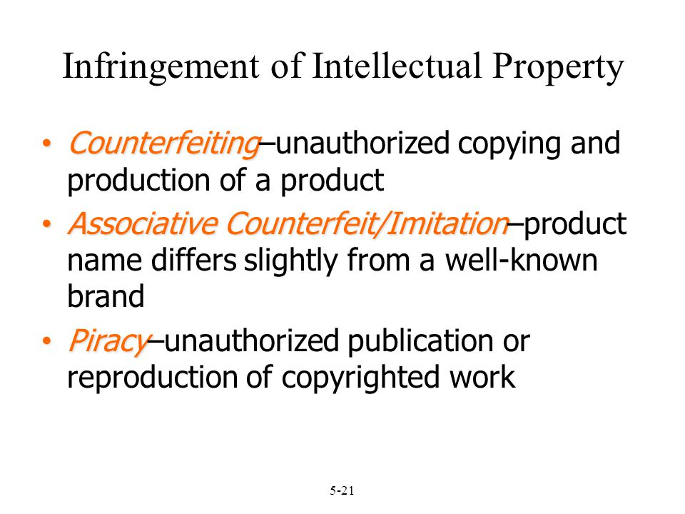 5-21 Infringement of Intellectual Property Counterfeiting Counterfeiting–unauthorized copying and production of a product Associative Counterfeit/Imit