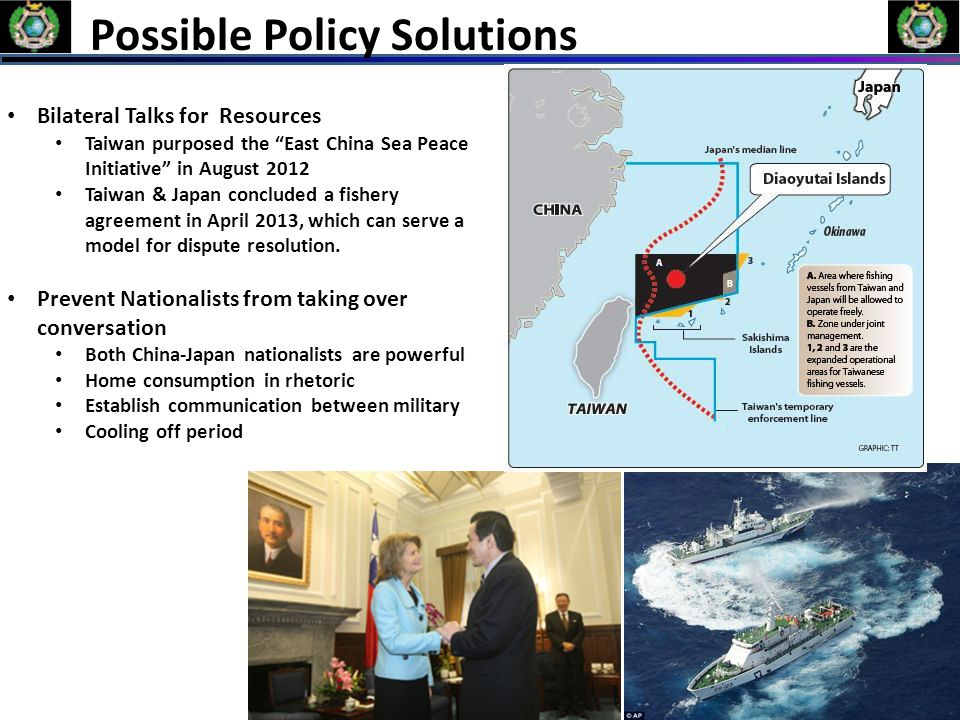 "Possible Policy Solutions Bilateral Talks for Resources Taiwan purposed the ""East China Sea Peace Initiative"" in August 2012 Taiwan & Japan concluded"
