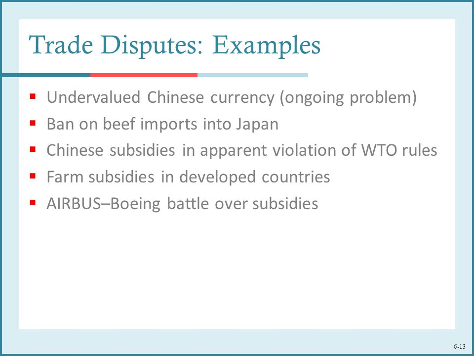 6-13 Trade Disputes: Examples  Undervalued Chinese currency (ongoing problem)  Ban on beef imports into Japan  Chinese subsidies in apparent violation of WTO rules  Farm subsidies in developed countries  AIRBUS–Boeing battle over subsidies