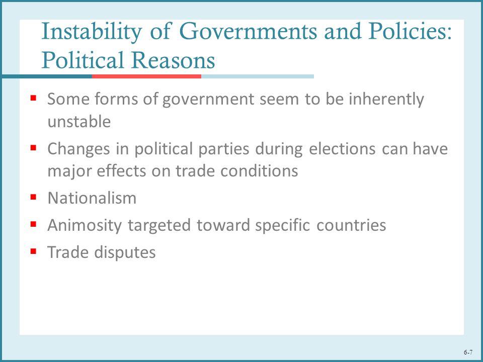 6-7 Instability of Governments and Policies: Political Reasons  Some forms of government seem to be inherently unstable  Changes in political parties during elections can have major effects on trade conditions  Nationalism  Animosity targeted toward specific countries  Trade disputes