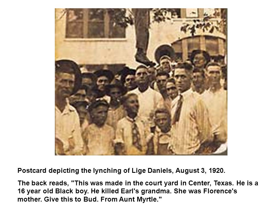 Postcard depicting the lynching of Lige Daniels, August 3, 1920.
