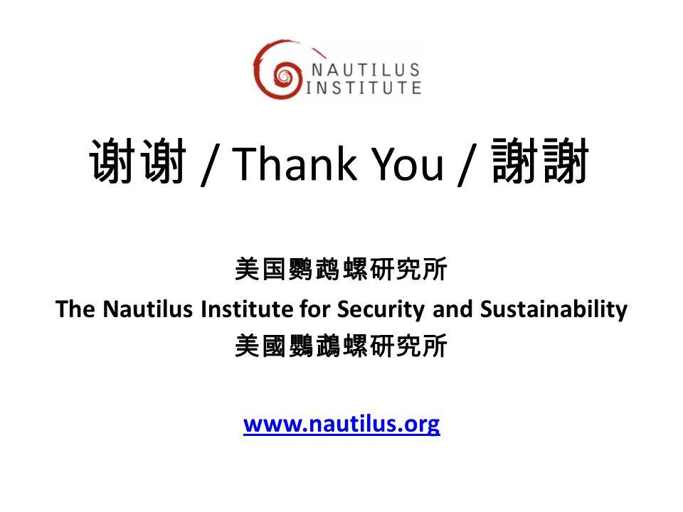 谢谢 / Thank You / 謝謝 美国鹦鹉螺研究所 The Nautilus Institute for Security and Sustainability 美國鸚鵡螺研究所 www.nautilus.org