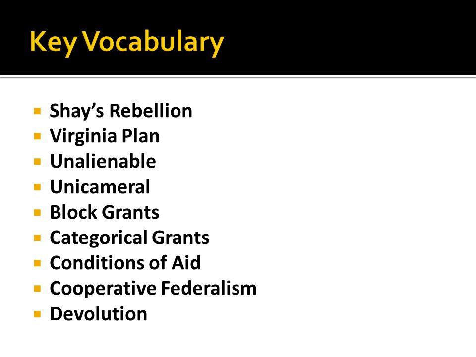  Shay's Rebellion  Virginia Plan  Unalienable  Unicameral  Block Grants  Categorical Grants  Conditions of Aid  Cooperative Federalism  Devol