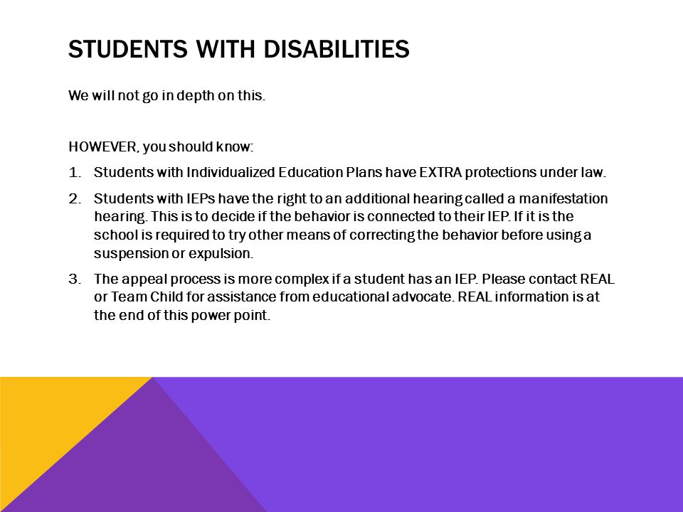 STUDENTS WITH DISABILITIES We will not go in depth on this.