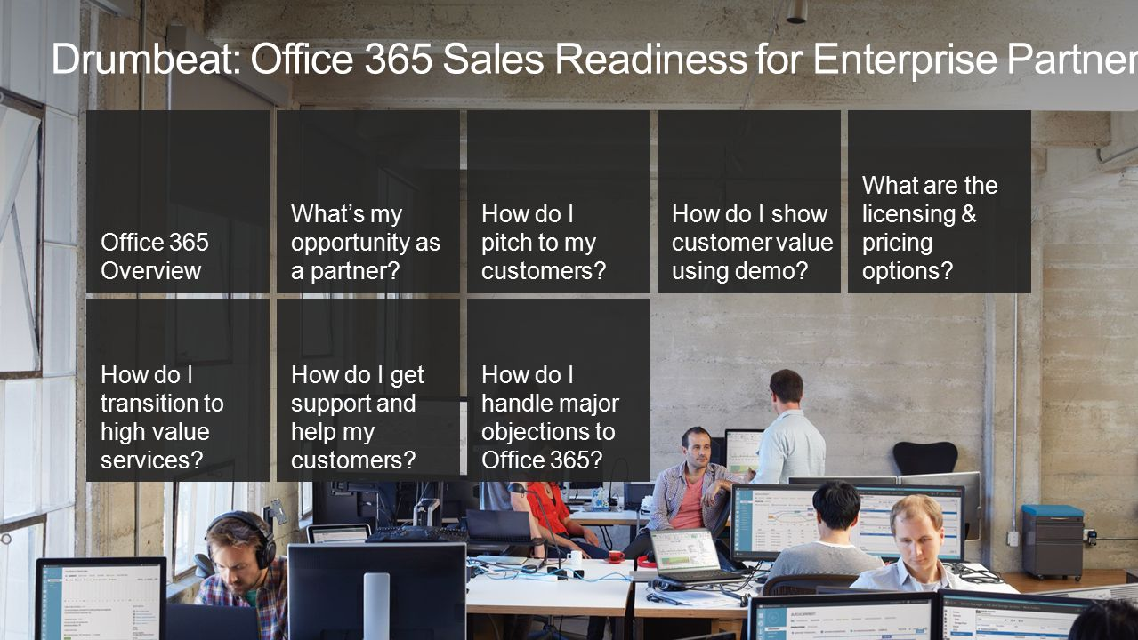 Office 365 Overview What's my opportunity as a partner? How do I pitch to my customers? How do I show customer value using demo? What are the licensin