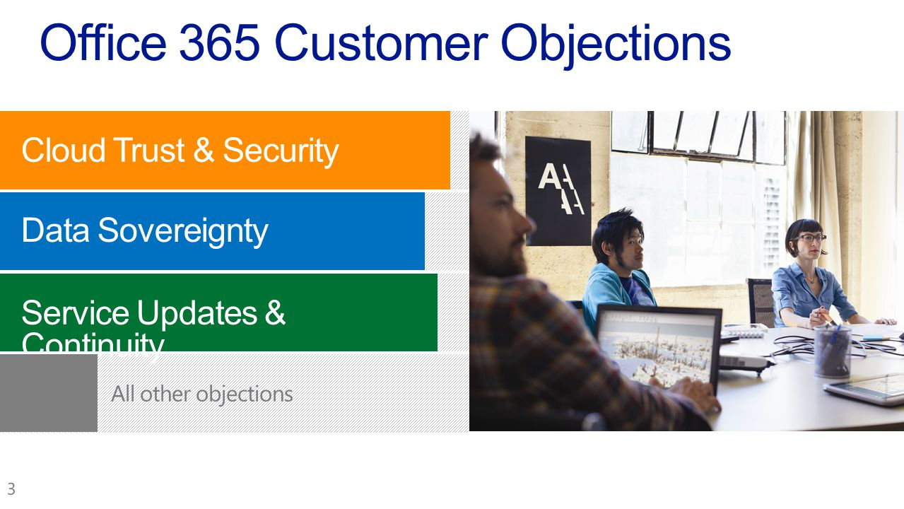 Cloud Trust & Security Data Sovereignty Service Updates & Continuity Office 365 Customer Objections
