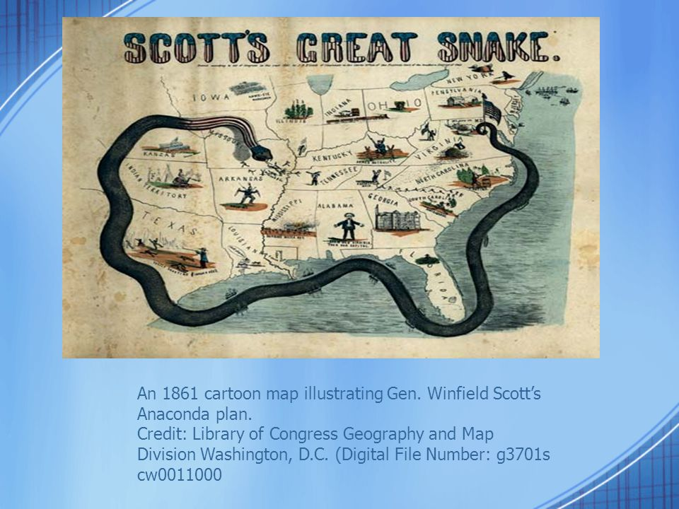 An 1861 cartoon map illustrating Gen. Winfield Scott's Anaconda plan. Credit: Library of Congress Geography and Map Division Washington, D.C. (Digital