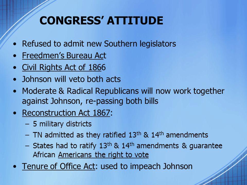 CONGRESS' ATTITUDE Refused to admit new Southern legislators Freedmen's Bureau Act Civil Rights Act of 1866 Johnson will veto both acts Moderate & Rad