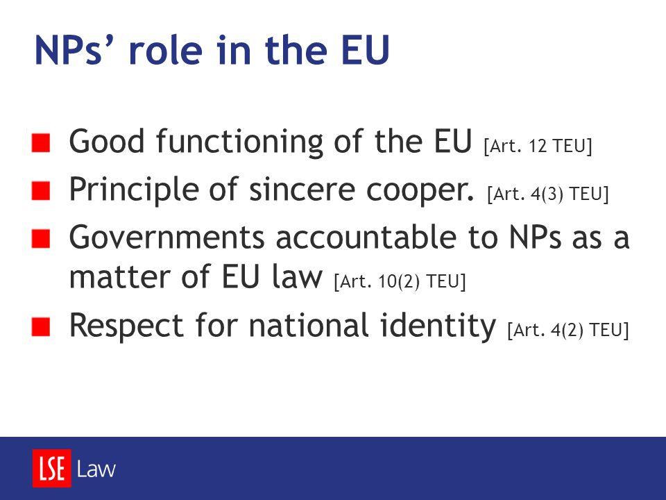 NPs' role in the EU Good functioning of the EU [Art. 12 TEU] Principle of sincere cooper. [Art. 4(3) TEU] Governments accountable to NPs as a matter o
