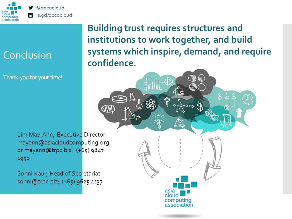 Conclusion Thank you for your time! Building trust requires structures and institutions to work together, and build systems which inspire, demand, and