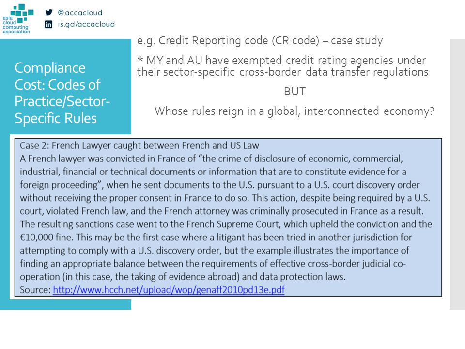 Compliance Cost: Codes of Practice/Sector- Specific Rules e.g. Credit Reporting code (CR code) – case study * MY and AU have exempted credit rating ag