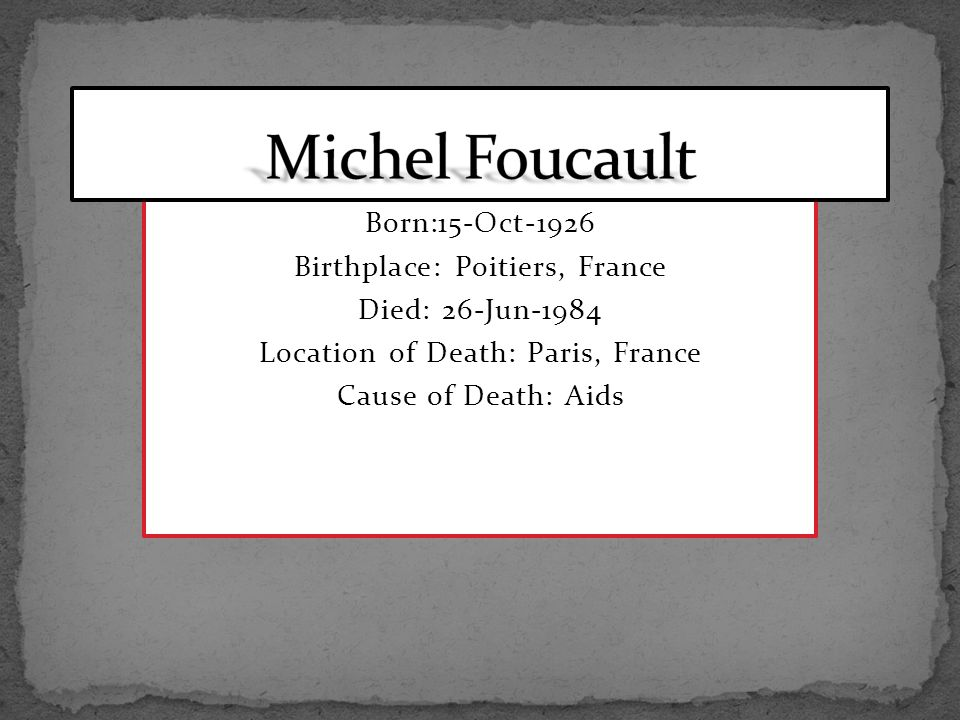 Born:15-Oct-1926 Birthplace: Poitiers, France Died: 26-Jun-1984 Location of Death: Paris, France Cause of Death: Aids