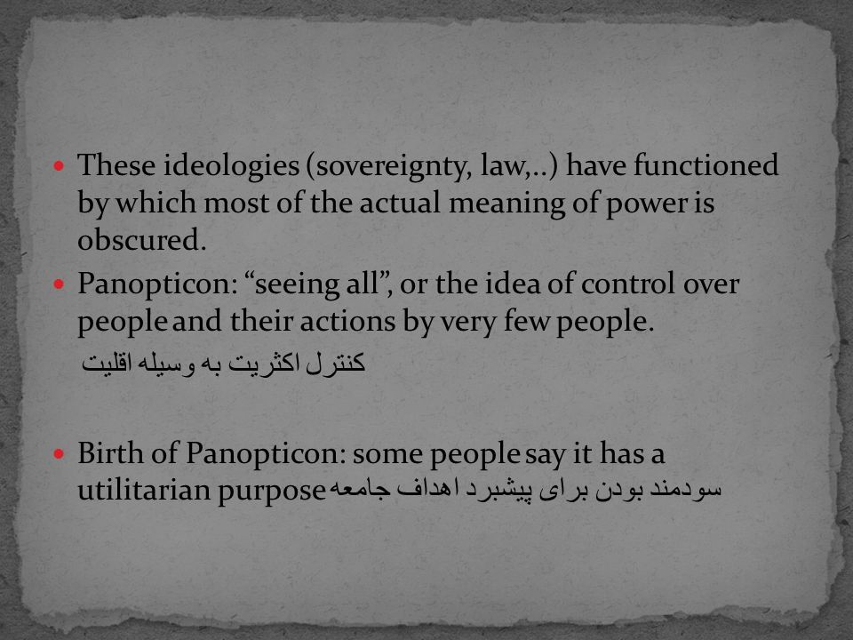 It is juridical because it is modeled upon law, upon prohibition: it is a power [more precisely a representation of power] whose model is essentially juridical, centered on nothing more than the statement of the law and the operation of taboos.