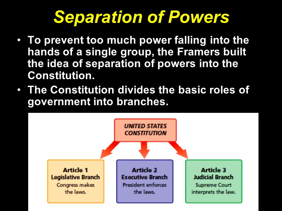 Separation of Powers To prevent too much power falling into the hands of a single group, the Framers built the idea of separation of powers into the Constitution.