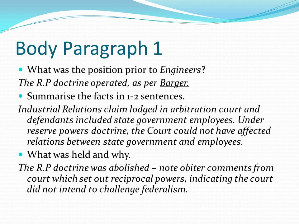 Body Paragraph 1 What was the position prior to Engineers.