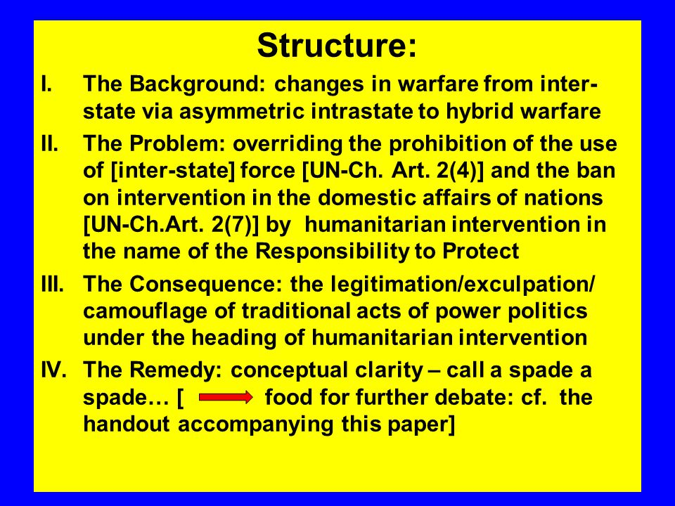 Structure: I.The Background: changes in warfare from inter- state via asymmetric intrastate to hybrid warfare II.The Problem: overriding the prohibition of the use of [inter-state] force [UN-Ch.