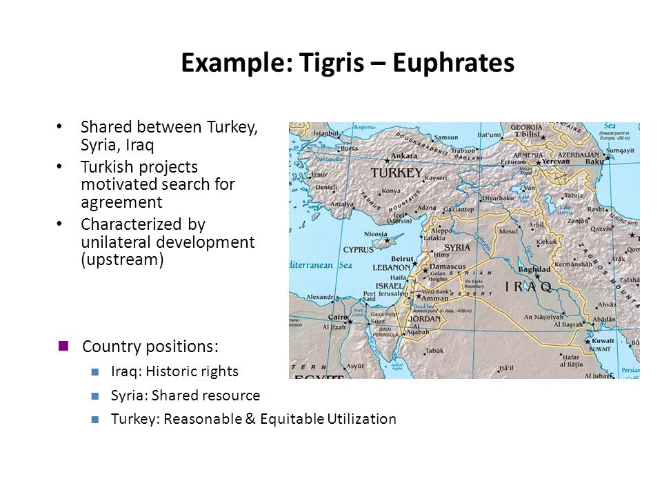 Example: Tigris – Euphrates Shared between Turkey, Syria, Iraq Turkish projects motivated search for agreement Characterized by unilateral development