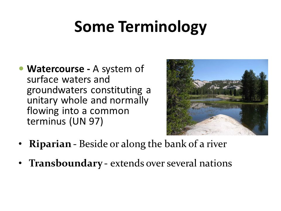 Some Terminology Riparian - Beside or along the bank of a river Transboundary - extends over several nations Watercourse - A system of surface waters