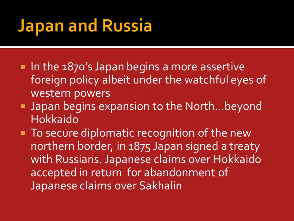  Yamagata allinace with Kenseito worked  Patronage system helped to secure military defence budgets  Yamagata did this because he was certain that Russia was a major menace  Japan wanted rights to build railways in Korea more to prevent Russia from doing so