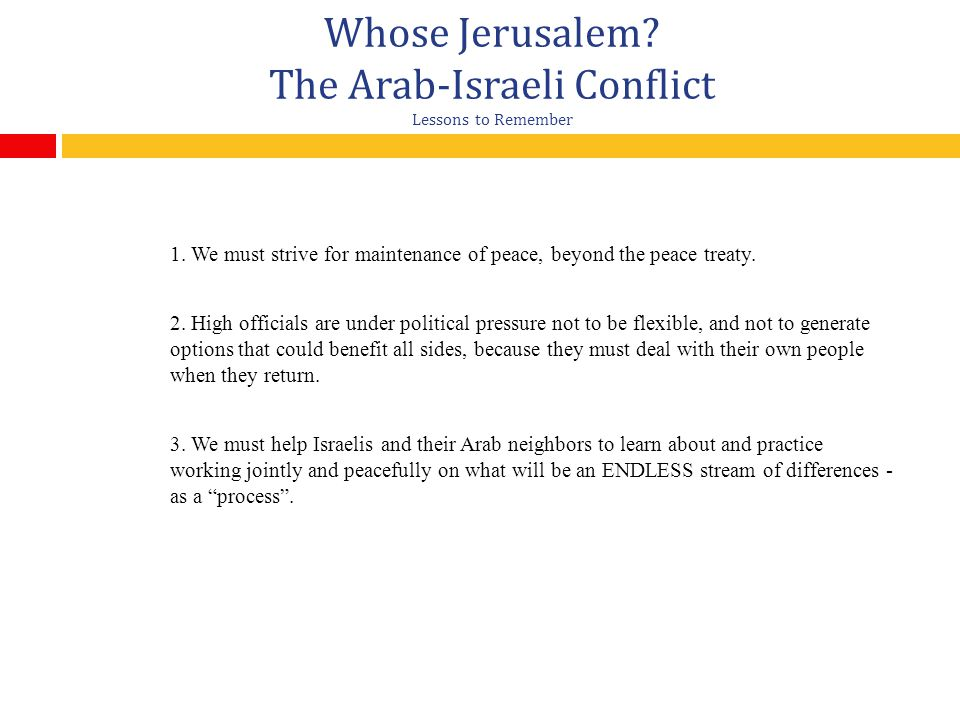 Whose Jerusalem.The Arab-Israeli Conflict Lessons to Remember 1.
