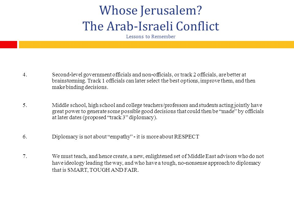 Whose Jerusalem.The Arab-Israeli Conflict Lessons to Remember 4.
