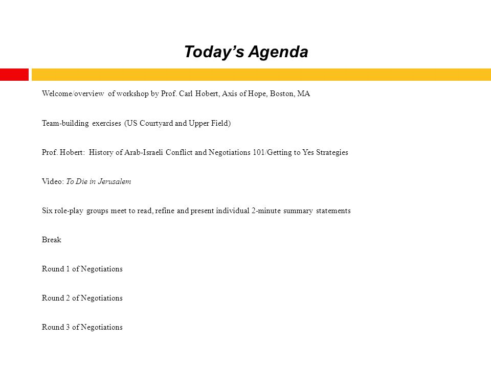 Today's Agenda Welcome/overview of workshop by Prof.