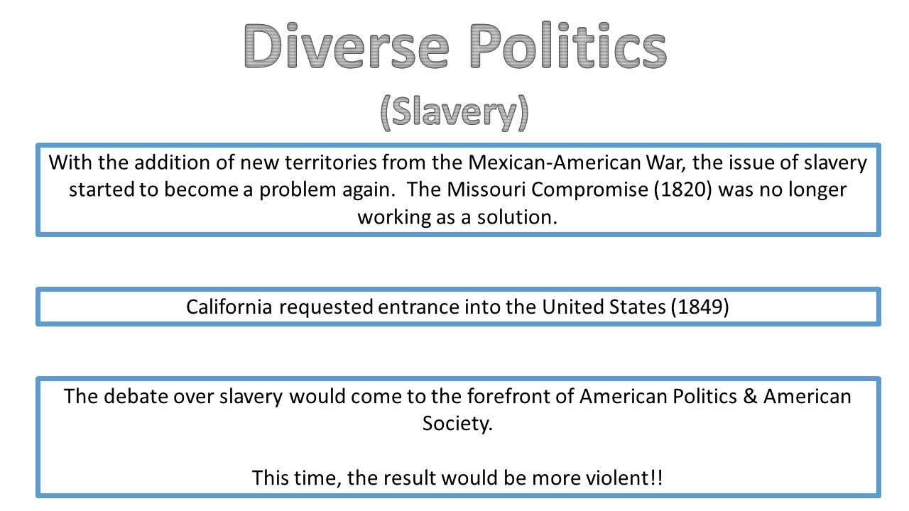 With the addition of new territories from the Mexican-American War, the issue of slavery started to become a problem again.