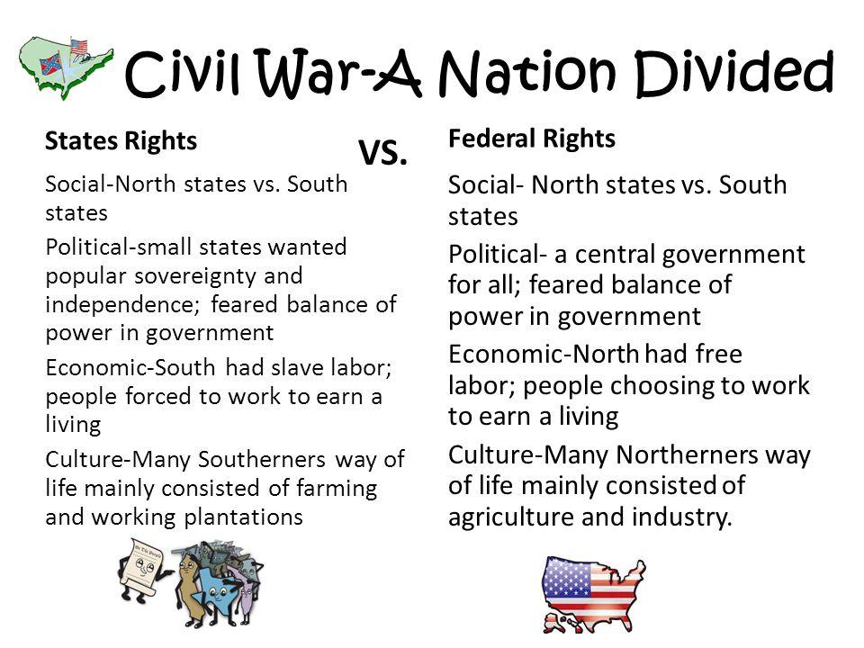 Civil War-A Nation Divided States Rights Social-North states vs.