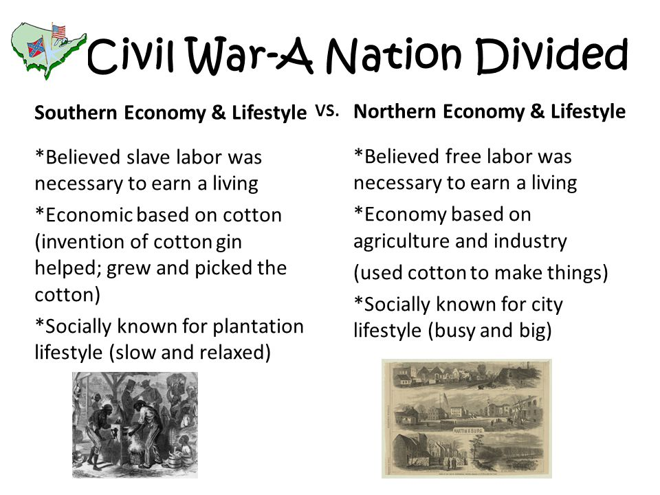Civil War-A Nation Divided Southern Economy & Lifestyle *Believed slave labor was necessary to earn a living *Economic based on cotton (invention of cotton gin helped; grew and picked the cotton) *Socially known for plantation lifestyle (slow and relaxed) Northern Economy & Lifestyle *Believed free labor was necessary to earn a living *Economy based on agriculture and industry (used cotton to make things) *Socially known for city lifestyle (busy and big) VS.