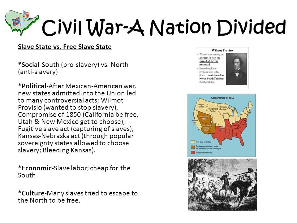 Civil War-A Nation Divided Slave State vs. Free Slave State *Social-South (pro-slavery) vs. North (anti-slavery) *Political-After Mexican-American war