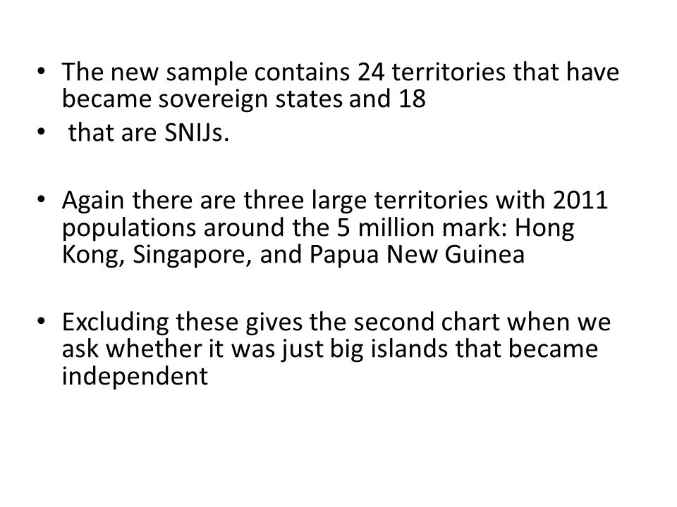 The new sample contains 24 territories that have became sovereign states and 18 that are SNIJs.
