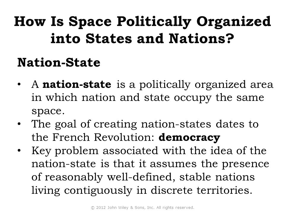 A nation-state is a politically organized area in which nation and state occupy the same space.