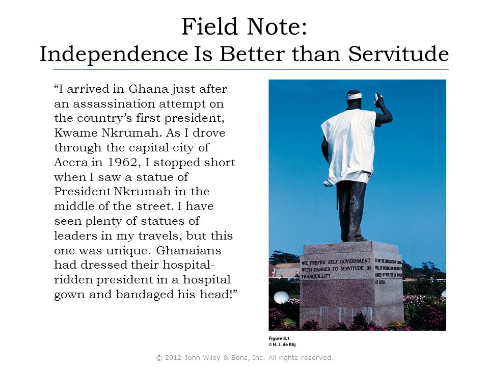 Field Note: Independence Is Better than Servitude I arrived in Ghana just after an assassination attempt on the country's first president, Kwame Nkrumah.