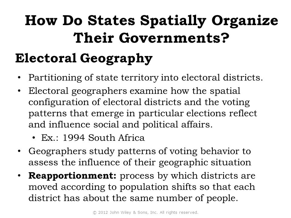 Partitioning of state territory into electoral districts.