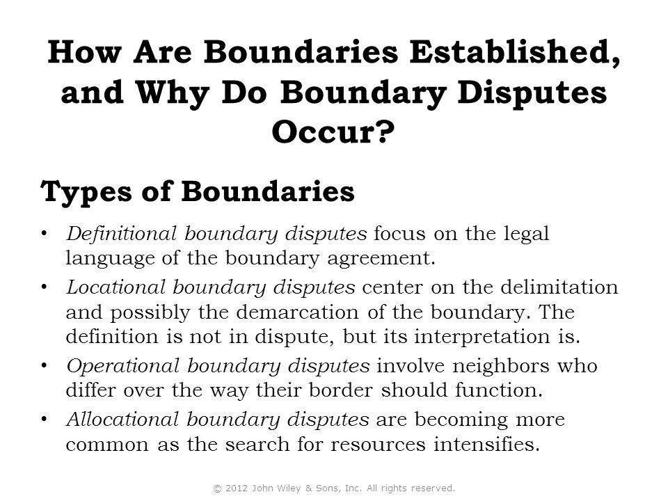 Definitional boundary disputes focus on the legal language of the boundary agreement.