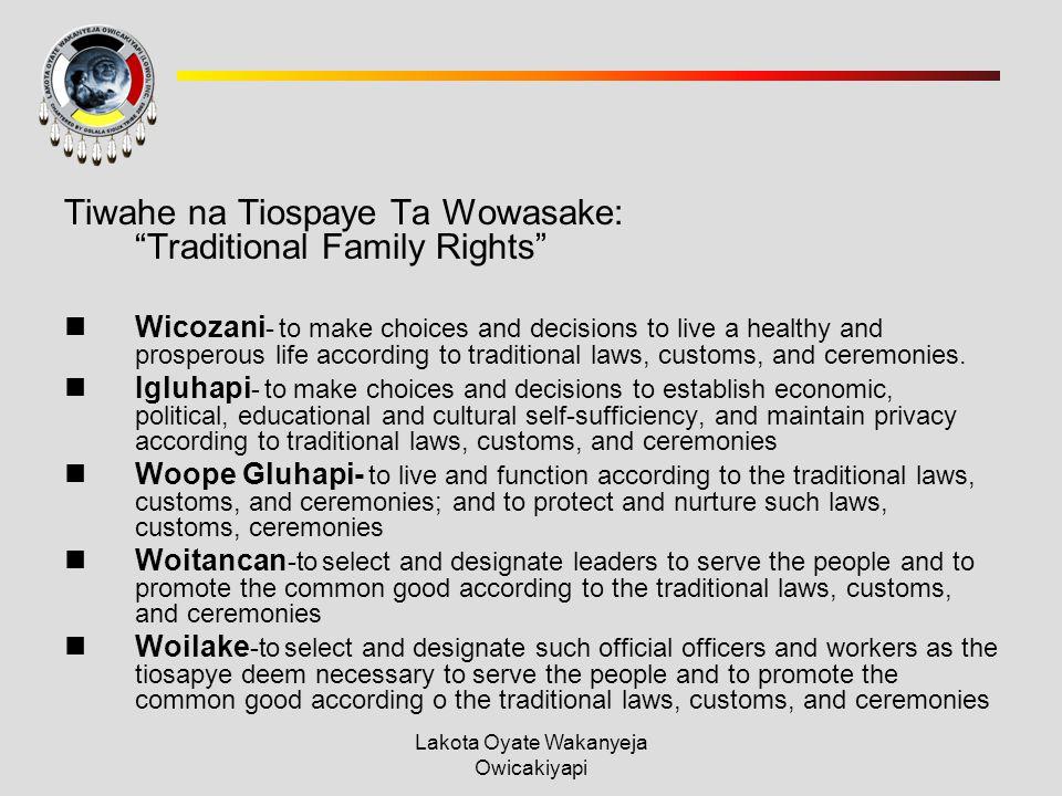 Lakota Oyate Wakanyeja Owicakiyapi Tiwahe na Tiospaye Ta Wowasake: Traditional Family Rights Wicozani - to make choices and decisions to live a healthy and prosperous life according to traditional laws, customs, and ceremonies.