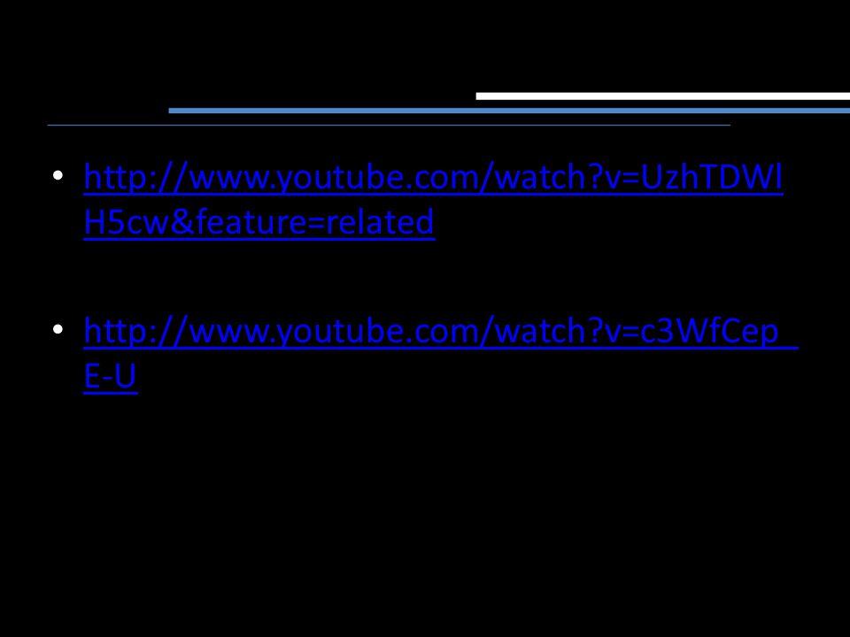 http://www.youtube.com/watch?v=UzhTDWl H5cw&feature=related http://www.youtube.com/watch?v=UzhTDWl H5cw&feature=related http://www.youtube.com/watch?v=c3WfCep_ E-U http://www.youtube.com/watch?v=c3WfCep_ E-U