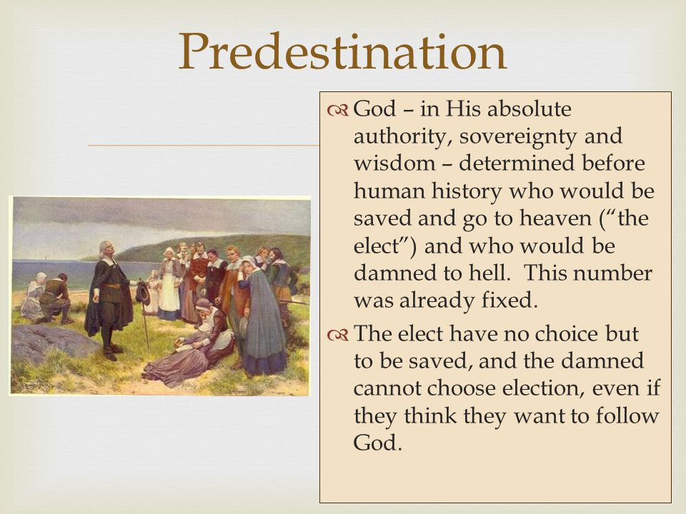   God – in His absolute authority, sovereignty and wisdom – determined before human history who would be saved and go to heaven ( the elect ) and who would be damned to hell.