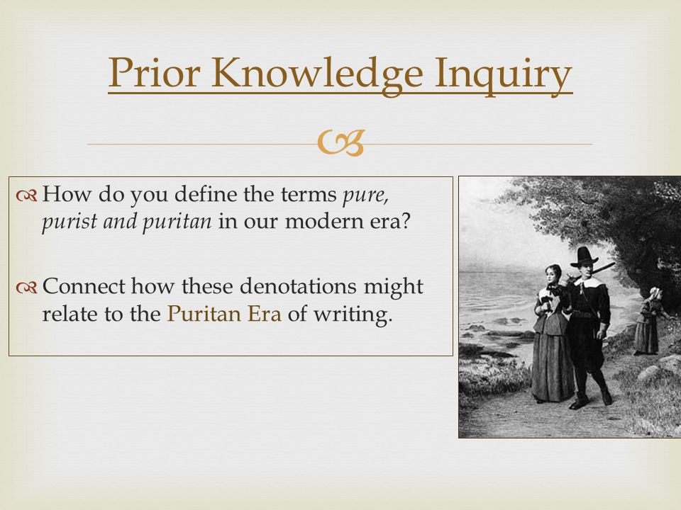   How do you define the terms pure, purist and puritan in our modern era.