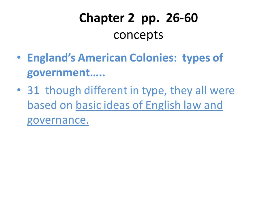 Chapter 2 pp. 26-60 concepts England's American Colonies: types of government….. 31 though different in type, they all were based on basic ideas of En