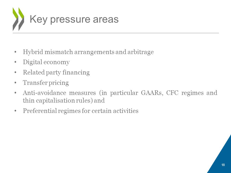 Hybrid mismatch arrangements and arbitrage Digital economy Related party financing Transfer pricing Anti-avoidance measures (in particular GAARs, CFC regimes and thin capitalisation rules) and Preferential regimes for certain activities 18 Key pressure areas