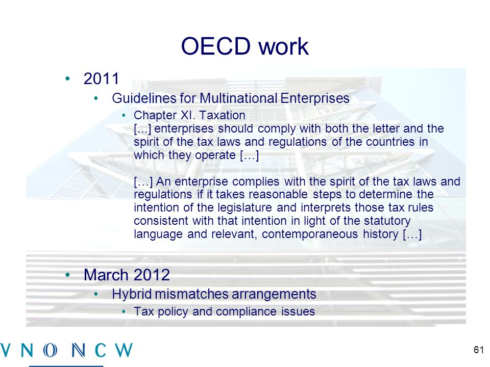 OECD work 2011 Guidelines for Multinational Enterprises Chapter XI.