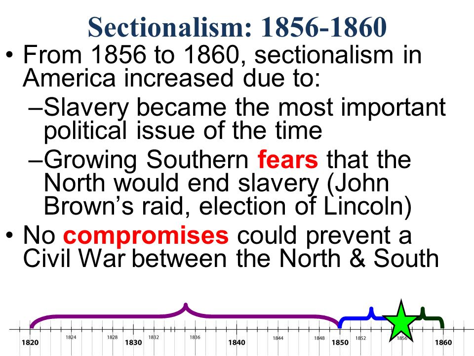 Sectionalism: 1856-1860 In December 1860, South Carolina became the first state to secede from the Union In 1861, more Southern states seceded & the C
