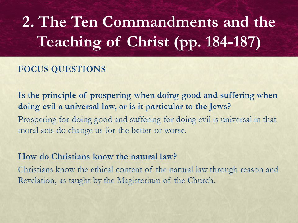 FOCUS QUESTIONS Is the principle of prospering when doing good and suffering when doing evil a universal law, or is it particular to the Jews? Prosper