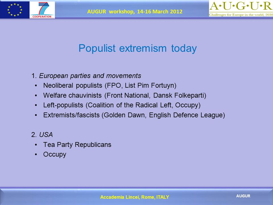 Accademia Lincei, Rome, ITALY AUGUR AUGUR workshop, 14-16 March 2012 Populist extremism today 1.
