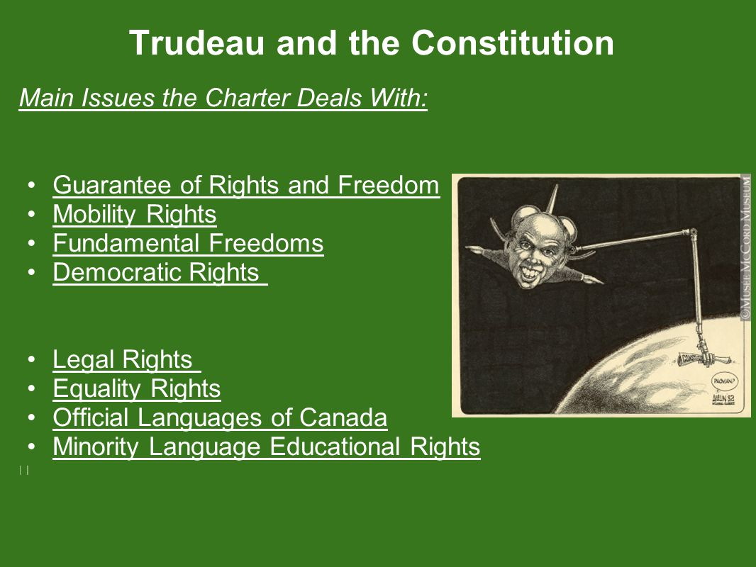 Main Issues the Charter Deals With: Guarantee of Rights and Freedom Mobility Rights Fundamental Freedoms Democratic Rights Legal Rights Equality Rights Official Languages of Canada Minority Language Educational Rights
