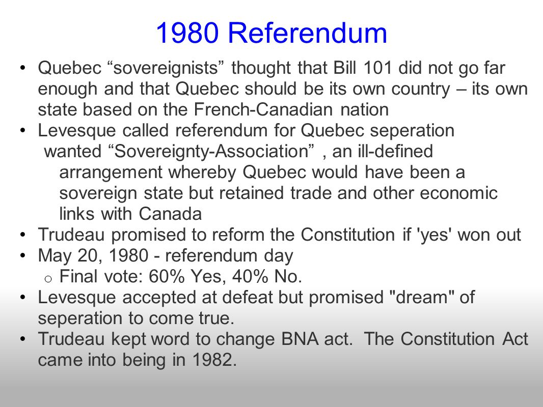 Trudeau and the Constitution History of the Constitution (1) In the Constitution Act, of 1867, the guaranteed rights of Canadian citizens were very limited.