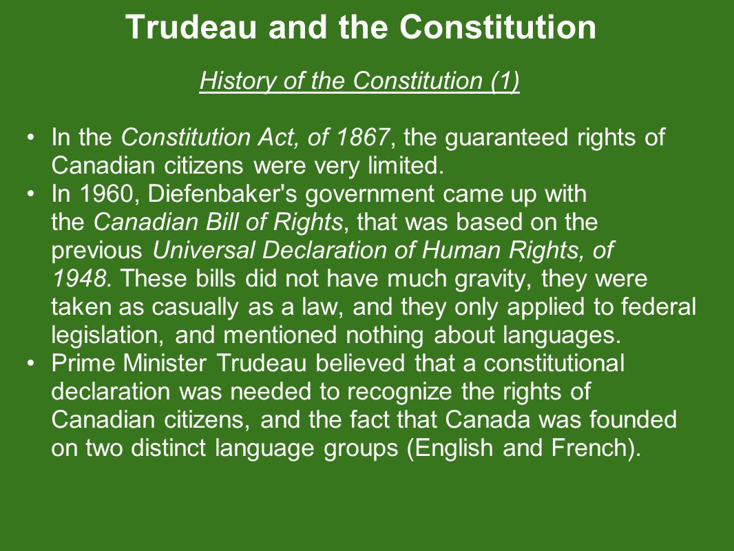 Trudeau and the Constitution Her Majesty, Queen Elizabeth II, with Prime Minister Pierre Elliott Trudeau signed the Proclamation of the Constitution Act, of 1982, on April 17, 1982.